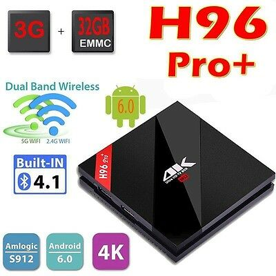 H96pro+ Smart Android TV Box Android 7.1 Amlogic S912 Octa Core UHD 4K 3GB / 32G