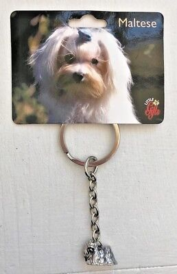 """NEW METAL DOG MALTESE KEY CHAIN RING 4"""" Little Gifts"""