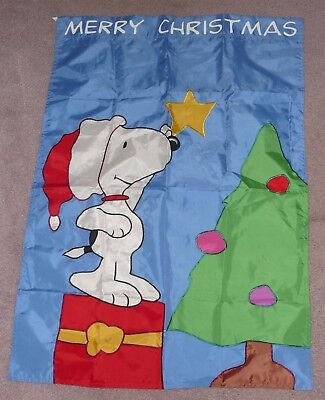Snoopy Peanuts Merry Christmas Tree Star Holiday Flag 28 x 40