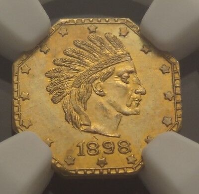 NGC MS63 1898 Alaska Gold One Pinch 1P Harts Coins of the West Indian Head Right