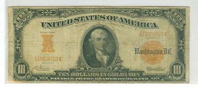 1907 $10 Large Gold Certificate Scarce Fr 1167 Vernon-Treat
