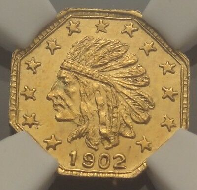NGC MS64 1902 Alaska Gold Quarter Pinch 1/4P Harts Coins of the West Indian