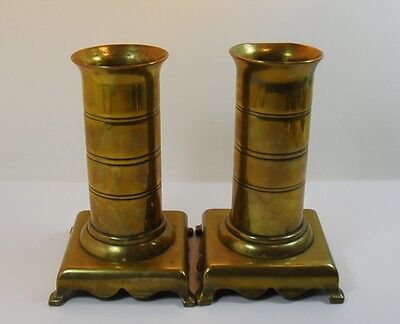 2 Vintage Brass Vases  Candlesticks Bookends- Possibly Trench Art - Heavy 1.75kg