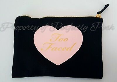 Too Faced You're Like, Really Pretty Cosmetic Makeup Bag Black Gold & Pink Heart