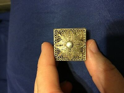 Small Square Decorative Sterling Silver Pill Box