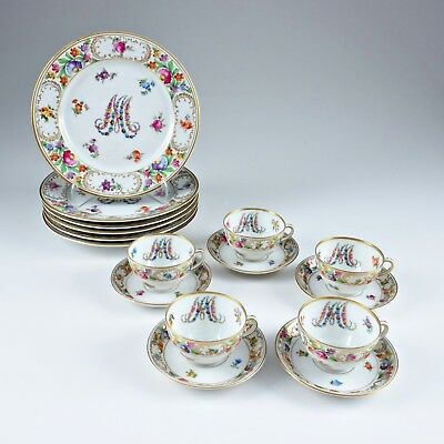 Dresden Marie Antoinette Plates and Tea Cups and Saucers