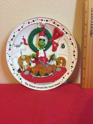Dr Seuss The Grinch Carved The Roast Beast 3D Christmas Decorative Plate