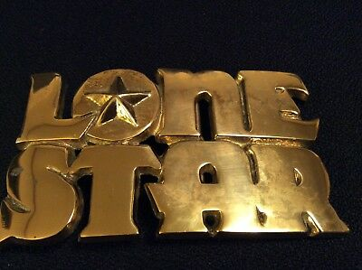 LONE STAR Cut Out Solid Brass Belt Buckle Vintage 70's BARON Deco 3D
