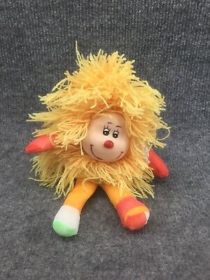 Vintage Rainbow Brite Yellow Sprite Stuffed Plush With Soft Rubber Face