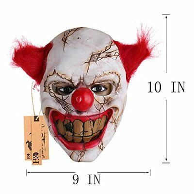 Clown Mask Halloween Latex Scary Adult Evil Costume With Hair Creepy