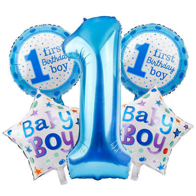 5pcs Happy Age 1st Birthday Helium Number Foil Balloons Baby Shower Party Decor