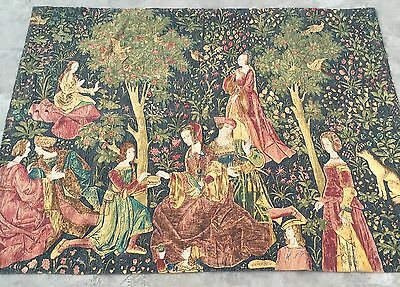 """Antique  French Aubusson Print Tapestry Wall Hanging 55"""" By 70"""""""