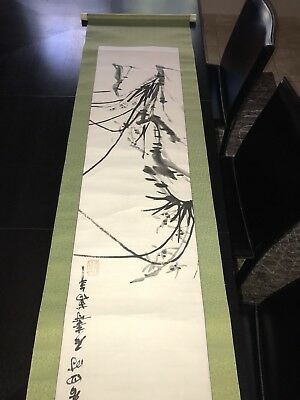 Vintage Chinese Watercolor Signed Scroll (Old)