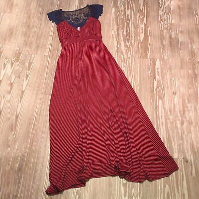 Pink Blush Maternity Small Navy Blue Red Maxi Dress Striped Lace Sleeves Back