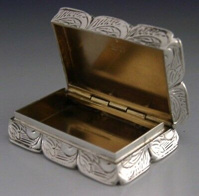 Quality English Sterling Silver Engine Turned Snuff / Pill Box 1984