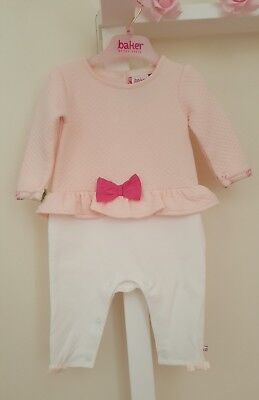 Baby Girl 🌸TED BAKER🌸 Quilted Romper/Playsuit Pink Rose🌹 3/6 months. VGC🌟