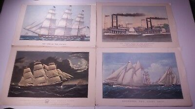 Lot of 4 Vintage Nautical Ship Currier & Ives Reprints Travelers Calendars Boats