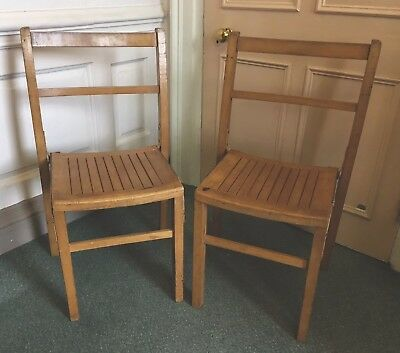 Pair Of Vintage Retro Wooden School Chairs