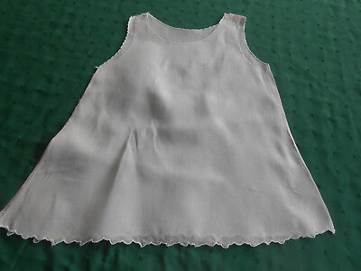 Antique Baby Slip, Pink Cotton With A Scalloped Edge, Circa 1940