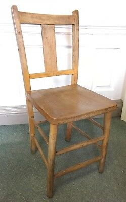 Vintage Retro Wooden T Back Dining Chair Ex School
