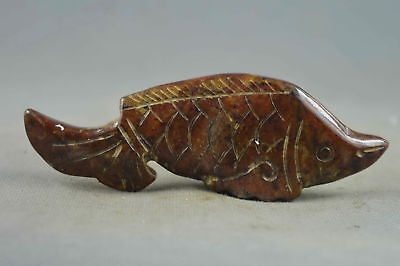 Collectable Handwork Decor Old jade Carving Vivid Goldfish Auspicious Pendant