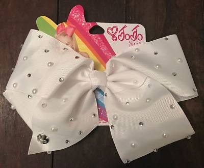 Official JoJo Siwa Large Rhinestone White Signature Hair Bow - Brand New
