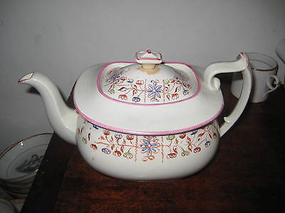 Pretty English Regency Teapot Painted Flower Decoration
