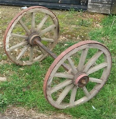 WOODEN CART WHEELS 50cm PAIR WITH AXLE