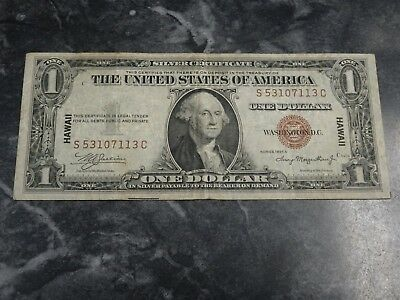 1935 A Hawaii $1 One Dollar Silver Certificate Brown Seal Note WWII SC Block