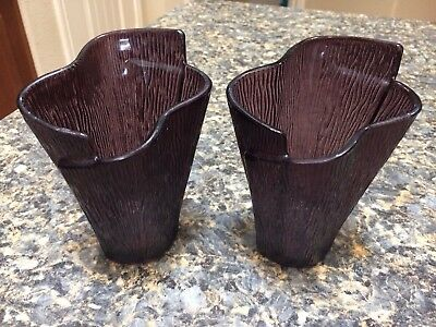 """Pair of Small Purple Decorative Vases - 5"""" Tall"""