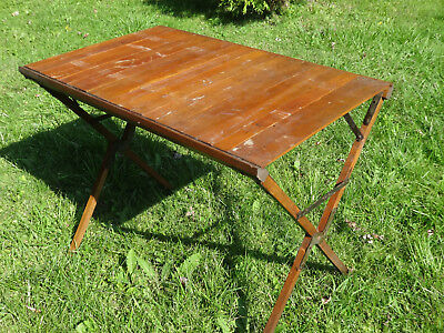 Antique Camping Campaign Style Folding Wood Table Primitive Patina 35 x 21 Vtg