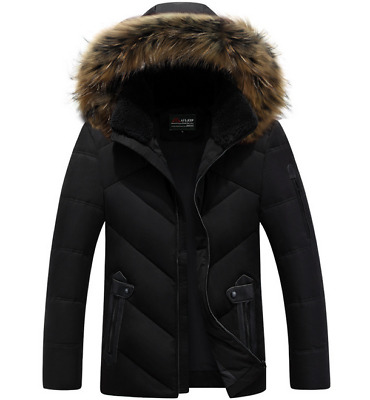 Mens New Winter Jacket Fur Collar Hooded Thick Fashion Coat Outwear  Black