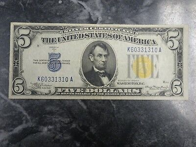 1934 A North Africa $5 Silver Certificate Yellow Seal WWII Emergency Issue