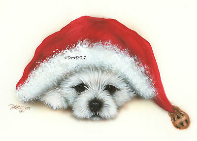 Westie Terrier  Pup hat note cards add a short message inside Free