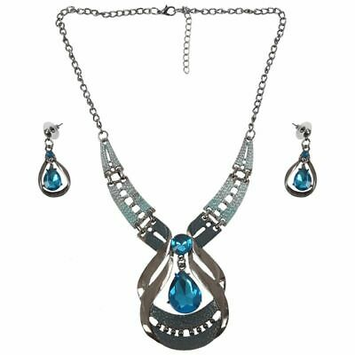 Necklace And Earring Set Water Drop Shape Jewelry Set Blue V4R4