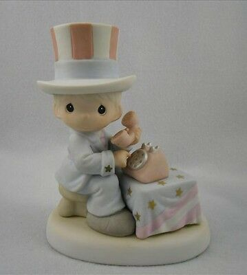 """Precious Moments """"LET FREEDOM RING"""" Uncle Sam EARLY EDITION/RARE/ITEM 681059E"""