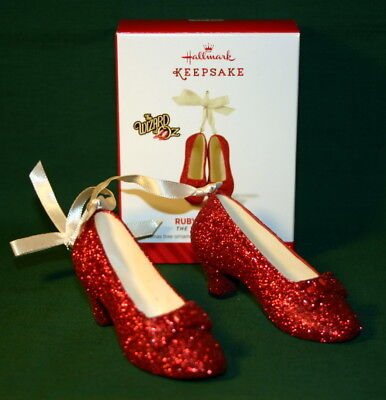 Hallmark  Ornament 2014 Ruby Slippers---Wizard Of Oz----Made Of Porcelain