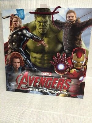 Lot Of 2 Large Marvel Avengers Age Of Ultron Hallmark Gift Bags 15 X 14.5 X 8