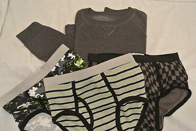 4 pc lot Boys size L Gray Sweat Shirt 3 pair of Underwear size L 10-12  NWOT