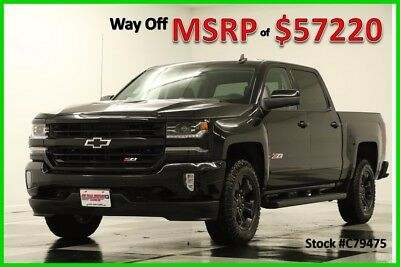 2017 Chevrolet Silverado 1500 MSRP$57220 4X4 Z71 LTZ Blacked Out GPS Crew 4WD New Midnight Navigation Heated Cooled Leather Short Truck Trailer Brake