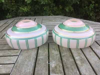 2 Vintage Art Deco Glass Light Lamp Shades, Pink with Green Stripes