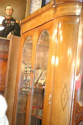 Antique Oak Armoire Vitrine Showcase,Bevelled Glass 4 Panel, Large Circa 1900