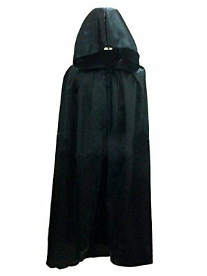 WESTLINK Cloak with Hood Costume Hooded Cape For Men Women 58.5 inches Black