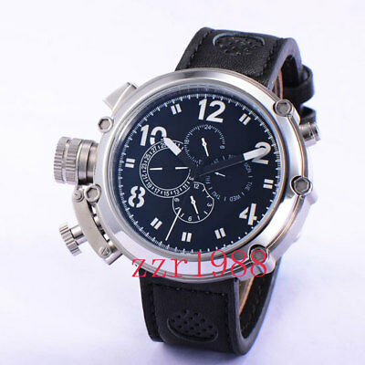 50mm Parnis Automatic Movement White Numbers Big Face Black Dial Mens Watch 056