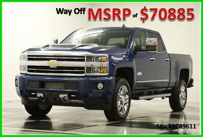 2018 Chevrolet Silverado 2500 HD MSRP$70885 4X4 High Country Diesel GPS Crew 4WD New 2500HD Duramax Sunroof Navigation Heated Cooled Leather Seats Cab 4WD 6.6L