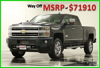 2018 Chevrolet Silverado 2500 HD MSRP$71910 4X4 High Country Diesel Sunroof Gray New 2500HD Duramax Graphite Metallic GPS Navigation Heated cooled Leather Crew