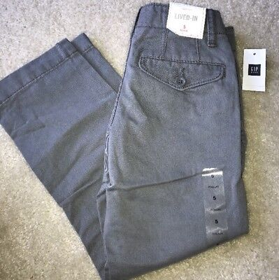 New Gap Kids Boys Lived In Chinos Pants Size 5 Regular NWT  In Gray