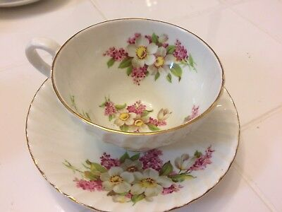 Stanley Bone China Tea Cup and Saucer Pink and White Flowers
