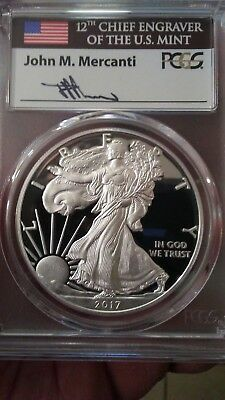 2017 W Proof Silver Eagle Pcgs Pr70 Mercanti First Day Of Issue Fdoi 1 Of 1500