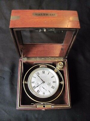 WALTHAM 8-Day Marine Ship CHRONOMETER Clock in Box wind indicator 15 jewels WWII